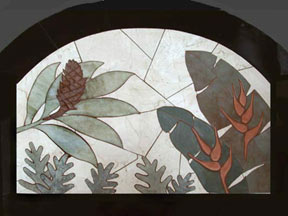 stair landing tropical carved stone tile mural
