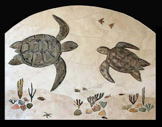 tile mural of two turtles over a reef scene