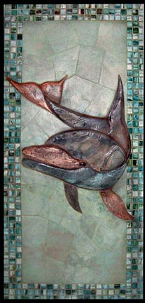 glass border around dolphin mural