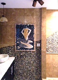 installed mermaid wall art tile