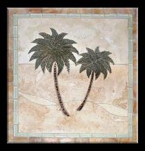 tile mural of a palm tree with a fancy border