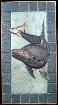 tall shower dolphin mural with blue ceramic border