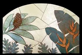 Tropical flowers tile mosaic mural with arch top