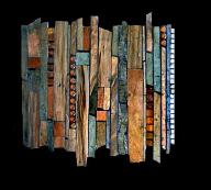 tile mural: abstract layers of copper slate