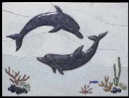two dolphin reef tile mural