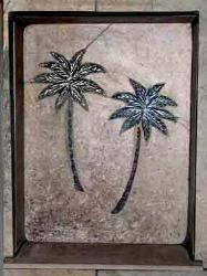 close up of shampoo nook twin palm tree tile mural