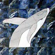 breeching whale with blue ceramic