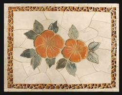 HIBISCUS FLOWER WITH ORANGE GLASS BORDER tile mosaic