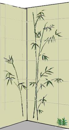 two wall bamboo wall mural design drawing
