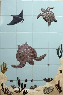 Blue water florida turtle reef mural
