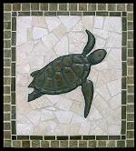 mosaic turtle tile mural with border