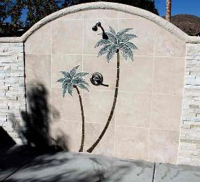 pool shower twin palm tile mural cut in