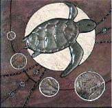 abstract turtle tile mural