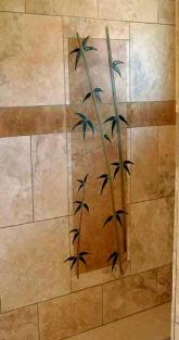 close up of bamboo shower mural
