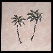 twin palm in ceramic background