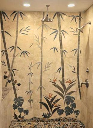 shower mural of bamboo forest with flowers and plants