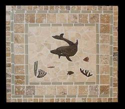 delux dolphin reef mural with fancy border