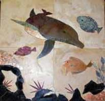 large dolphin reef mural with 3 fish