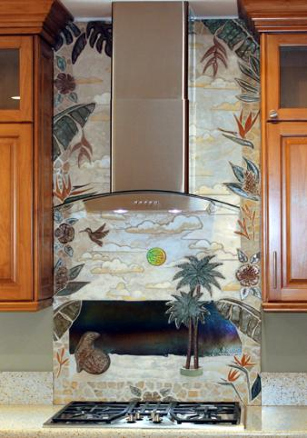 delux tropical stove splash mural made for a home near seal beach