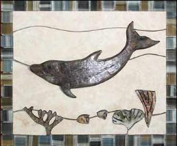dolphin swimming over a reef tile mural