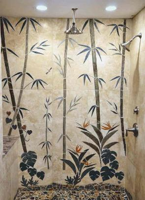 Full wall bamboo shower design