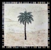 single palm tree mural with glass border