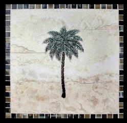 single palm tree mural with a glass border around it- tile mural