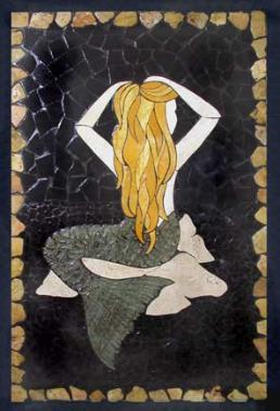 mermaid on rock mural