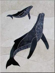 mother and calf whale mural