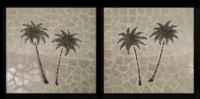 pair of mosaic twin palm murals