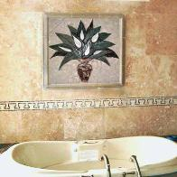 bathtub wall tile mural of a peace lilly 32