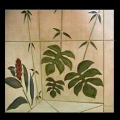 tropical corner bench wall mural