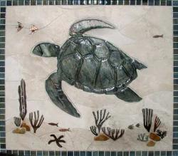 large turtle reef mural with glass border around it
